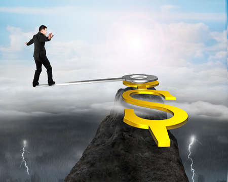 Business man balance at clock hands edge on top of mountain with dramatic weather, 3D rendering
