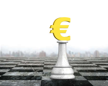 Money chess of golden euro currency on chessboard, 3D illustration.