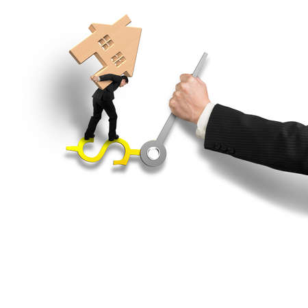 impede: Man carrying wooden house balance on money sign clock hands with another holding, isolated in white background, 3D rendering