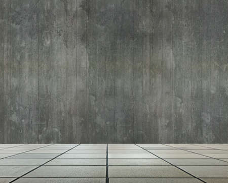 dirty room: Empty room interior with old dirty wooden wall and stone floor for background texture. Stock Photo