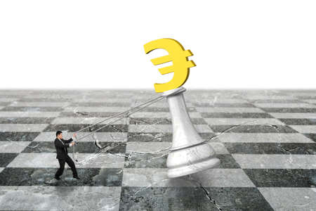 pulling money: Man pulling Euro symbol of money chess on chessboard, with white background.