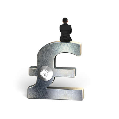 safekeeping: Rear view of businessman sitting on silver pound symbol with lock, isolated on white. Stock Photo