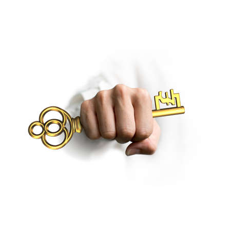 uk money: Hand holding big golden treasure key in pound symbol shape, isolated on white background.