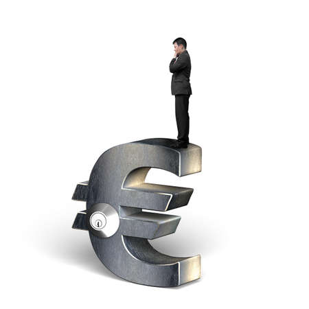 Thinking businessman standing on silver Euro symbol with lock, isolated on white.