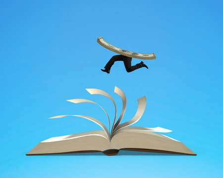 Running money on top of flipping pages of open book isolated in blue background, 3D rendering Stock Photo