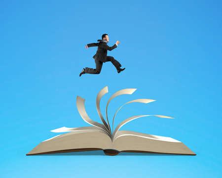 note booklet: Man running on top of flipping pages of open book isolated in blue background, 3D rendering Stock Photo