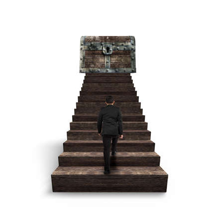 toward: Man walking toward treasure chest on top of wooden stairs, isolated on white background.