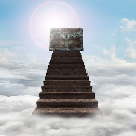 Old treasure chest on top of wooden stairs, with sun sky clouds background.