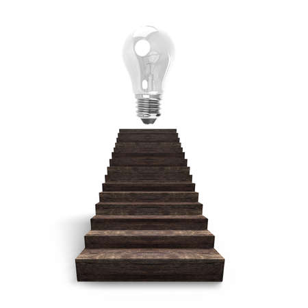wooden stairs: Bulb on top of old wooden stairs, isolated on white background, 3D rendering.