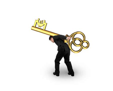 Businessman carrying golden treasure key in Euro symbol shape, isolated on white background.
