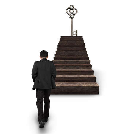 Man walking toward treasure key on top of wooden stairs, isolated on white background.