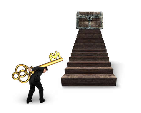 Man carrying Euro sign key and walking toward the treasure chest on top of wood stairs, isolated on white background.
