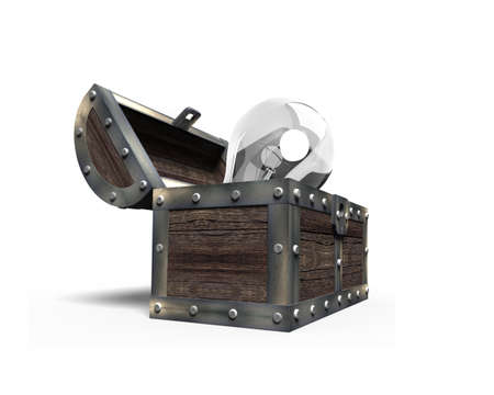 Old treasure chest open with light bulb inside, side view, isolated on white background, 3D rendering.