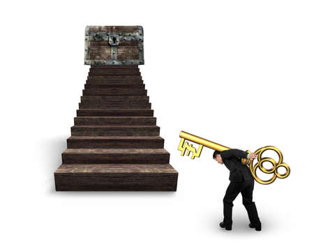 Man carrying pound symbol key and walking toward the treasure chest on top of wood stairs, isolated on white background.
