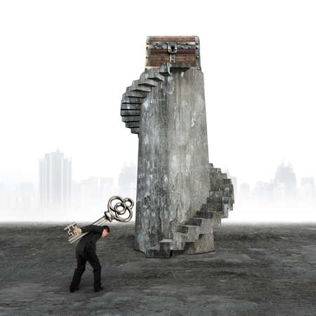 dirty old man: Man carrying key and walking toward the treasure chest on top of old dirty spiral stairs.