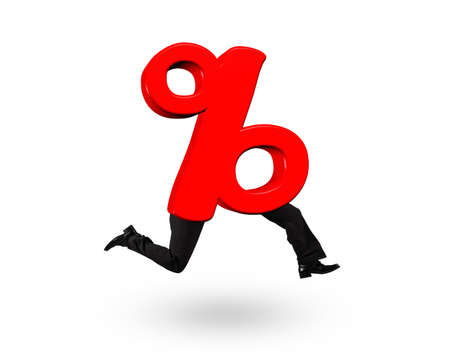 3D red percentage sign with human legs, isolated on white background.
