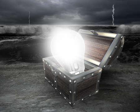 irradiate: 3D bright light bulb in treasure chest illuminated dark storm ocean background.