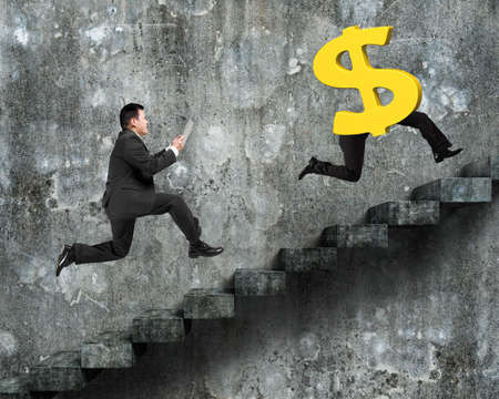 dirty old man: Man running after dollar money symbol with human legs, on old dirty concrete stairs with wall background.