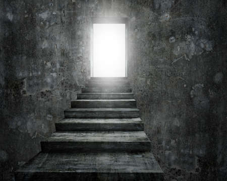 Open door with bright light and old dirty concrete staircase, 3D rendering.