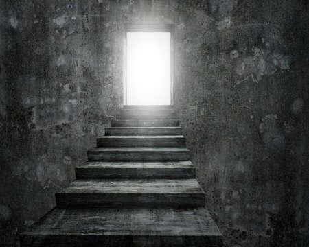 Ouvrir la porte avec une lumière vive et vieux escalier en béton sale, le rendu 3D.