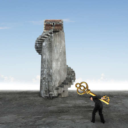 Man carrying dollar sign key and walking toward the treasure chest on top of spiral staircase. Stock Photo