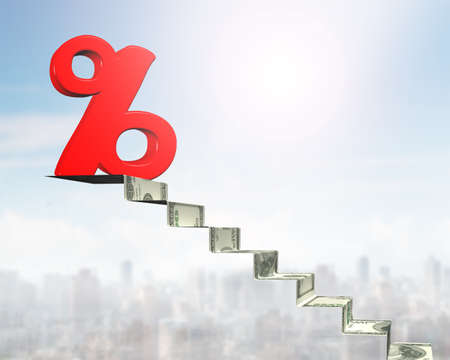 percentage sign: 3D red percentage sign on top of money stairs.