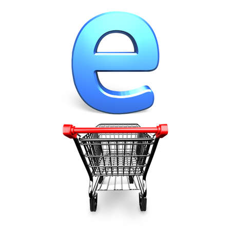 Shopping cart with letter e, 3D rendering, isolated on white.