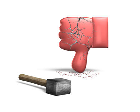 deny: Red thumb down with hammer, 3D rendering, isolated on white background.