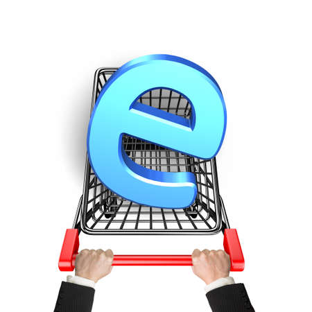 e cart: Letter e in the shopping cart with hand holding, isolated on white background.