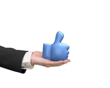 3D blue thumb up with man hand holding, isolated on white background. Stock Photo