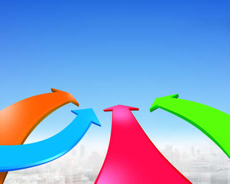 Four color arrows go forward in the blue sky background. Stock Photo