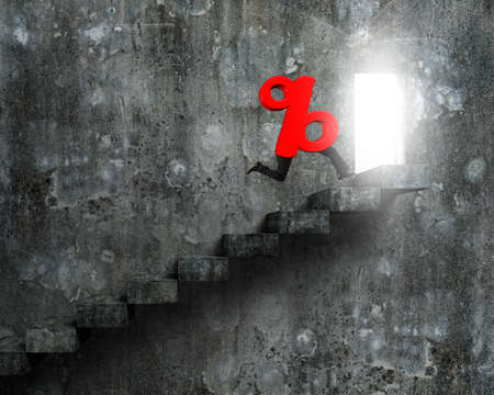 open legs: 3D red percentage sign with human legs running on old concrete stairs, toward open door with bright light.