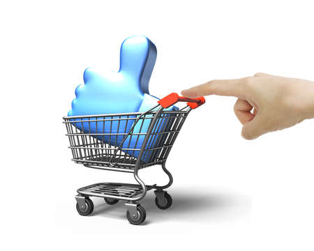 Woman forefinger pushing small shopping cart with blue thumb up inside, side view, isolated on white background.
