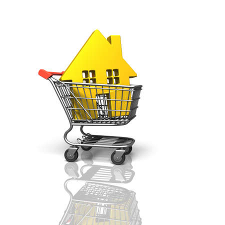 Golden house in shopping cart, isolated on white background, on-line shopping concepts, 3D rendering. Stock Photo