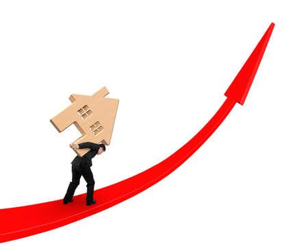 グラフ、白い背景で隔離を赤い矢印で木造住宅を運ぶビジネスマン。 写真素材