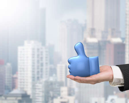 3D blue thumb up with man hand holding