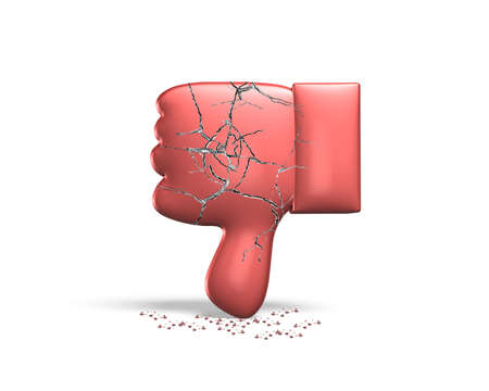 disapprove: Red cracked thumb down, 3D rendering, isolated on white background.