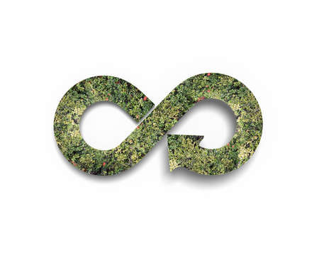 economic cycle: Green circular economy concept. Arrow infinity symbol with grass, isolated on white background.