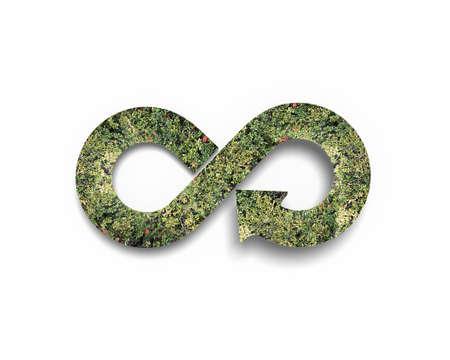 Verde concetto di economia circolare. Freccia simbolo di infinito con erba, isolato su sfondo bianco.
