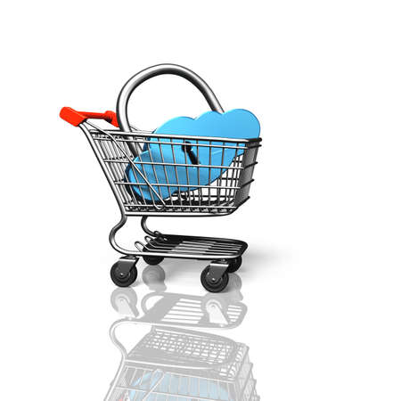 Cloud shape lock in shopping cart, isolated on white, on line shopping concept, 3D rendering.