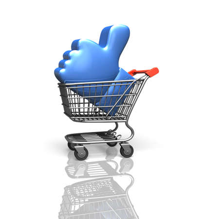 shopping cart isolated: Blue thumb up in shopping cart, isolated on white background, 3D rendering.