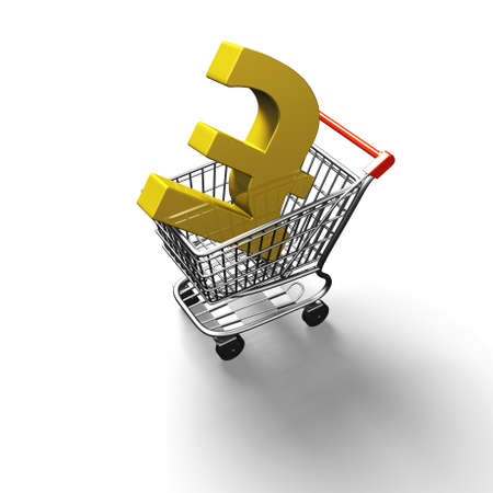 pound sterling: 3D carrito de la compra con el símbolo de la libra esterlina libra de oro, opinión de alto ángulo, aislado en blanco.