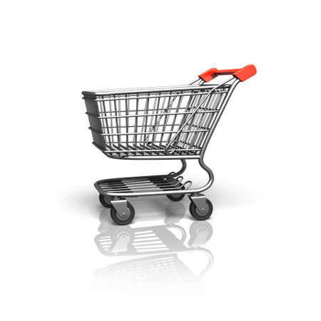 3D rendering shopping cart, side view, isolated on white background. Stock Photo