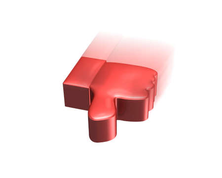 Red thumb down flying, 3D rendering, isolated on white.