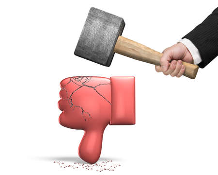 Hand holding sledgehammer hitting red 3D thumb down with cracks, isolated on white background.