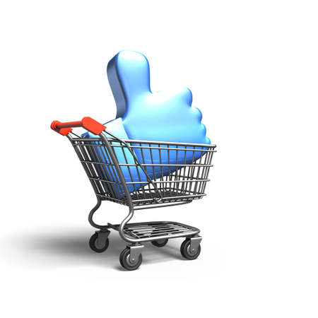 Thumb up in shopping cart, isolated on white background, 3D rendering. Stock Photo