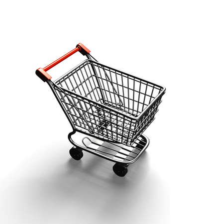 3D rendering shopping cart, high angle view, isolated on white background.