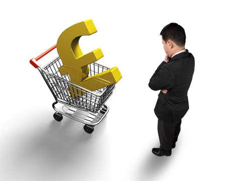libra esterlina: Hombre de pie mirando a la cesta de la compra con el símbolo de la libra esterlina libra de oro, opinión de alto ángulo, aislado en blanco.