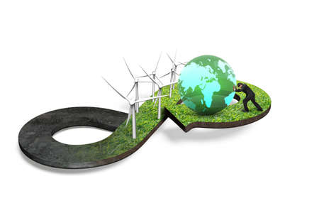 economic cycle: Green circular economy concept. Arrow infinity symbol of grass texture with wind turbines and man pushing colorful globe, isolated on white background. Stock Photo