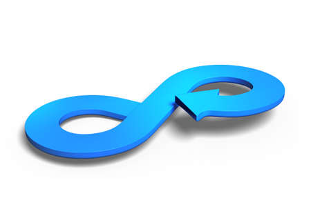 Circular economy concept. Blue arrow infinity symbol, isolated on white background, 3D rendering.